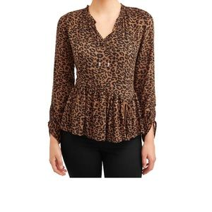 Time & Tru Large Leopard Peasant Top NWT